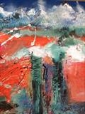 Background Mountains by Jane Burt, Painting, Mixed Media on Canvas