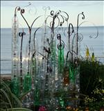 Bottled Flowers by Jane Burt, Sculpture, Plastic Bottles and Metal Reed Twines