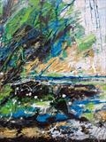Creek on Lac de Monteynard, France. by Jane Burt, Painting, Mixed Media on Canvas