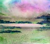 Dawn over Swiss Lake by Jane Burt, Painting, Acrylic on paper
