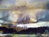 Forest, Lake, Sky, Mountains. by Jane Burt, Painting, Monotype & Acrylic