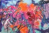French Garden by Jane Burt, Painting, Mixed Media on Canvas