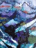 Late Summer Alps by Jane Burt, Painting, Mixed Media on Canvas