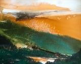 Orange sky over lake and forest. by Jane Burt, Painting