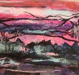 Pink Mountain by Jane Burt, Painting, Mixed Media on paper