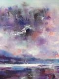Pink Sky Over Lake Geneva by Jane Burt, Painting, Mixed Media on Canvas
