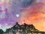 Rising Moon over Dents du Midi by Jane Burt, Painting, Acrylic on paper