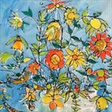 Spring Flower by Jane Burt, Painting, Collage