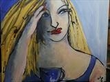 'The Blue Tea Cup' by Jane Burt, Painting, Acrylic on canvas