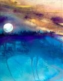 Turquoise Lake by Jane Burt, Painting, Acrylic on paper