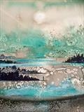 Watery Sunrise by Jane Burt, Painting, Acrylic on paper